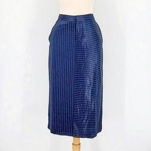 Banana Republic Pinstripe Navy Pencil Midi Skirt 4